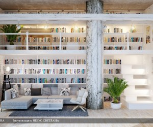 A dual level home library is the thing of dreams for the bookworms amongst us! Long runs of bespoke shelving house an extensive collection, with a desk providing a study area upstairs, whilst a modern L shaped sofa gives opportunity for long lounging reading sessions below.