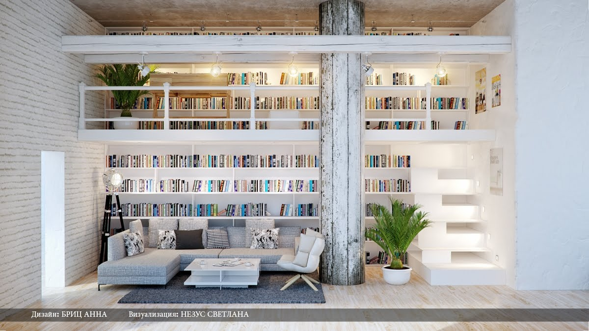 Gray white dual level home library interior design ideas for Home library designs interior design