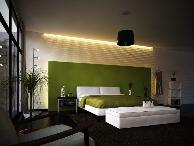 Via Hybrido Studio 3DAn unexpected blast of color against a stark wall is a great place to start, and the ideal application is an oversized headboard, which should span most of the wall space, or the wall behind your bed head; be as loud and proud as you dare!