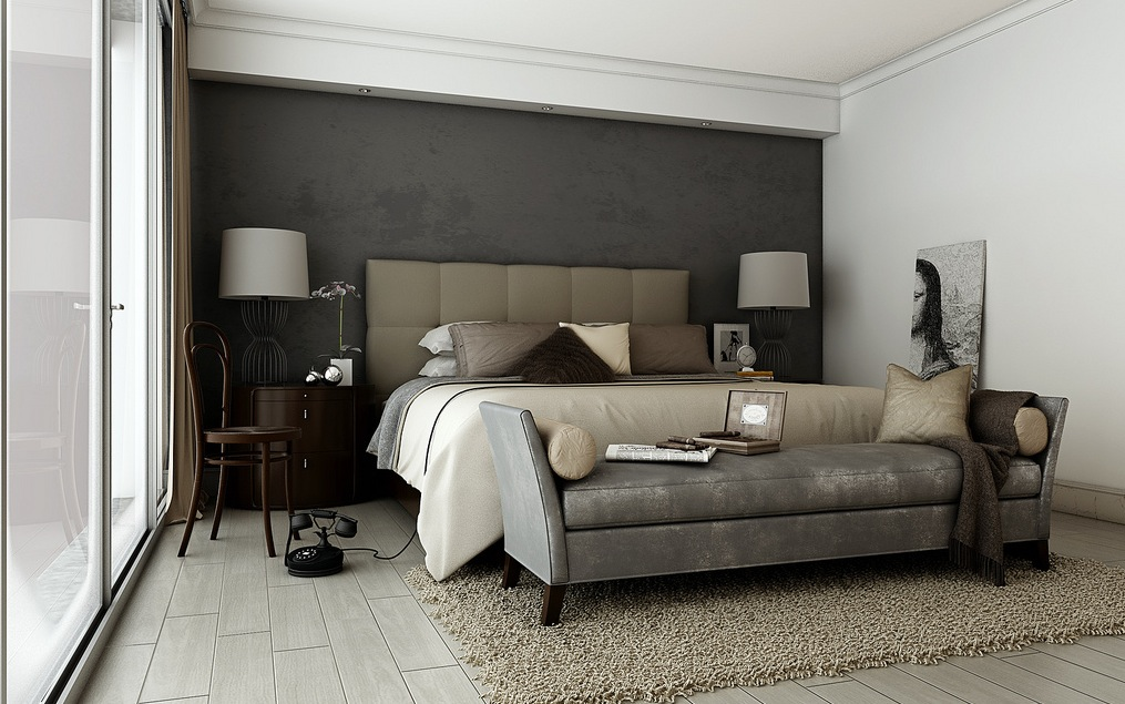Grey brown taupe sophisticated bedroom interior design for Interior design bedroom grey
