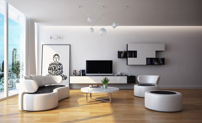 Modern Black white living room furniture