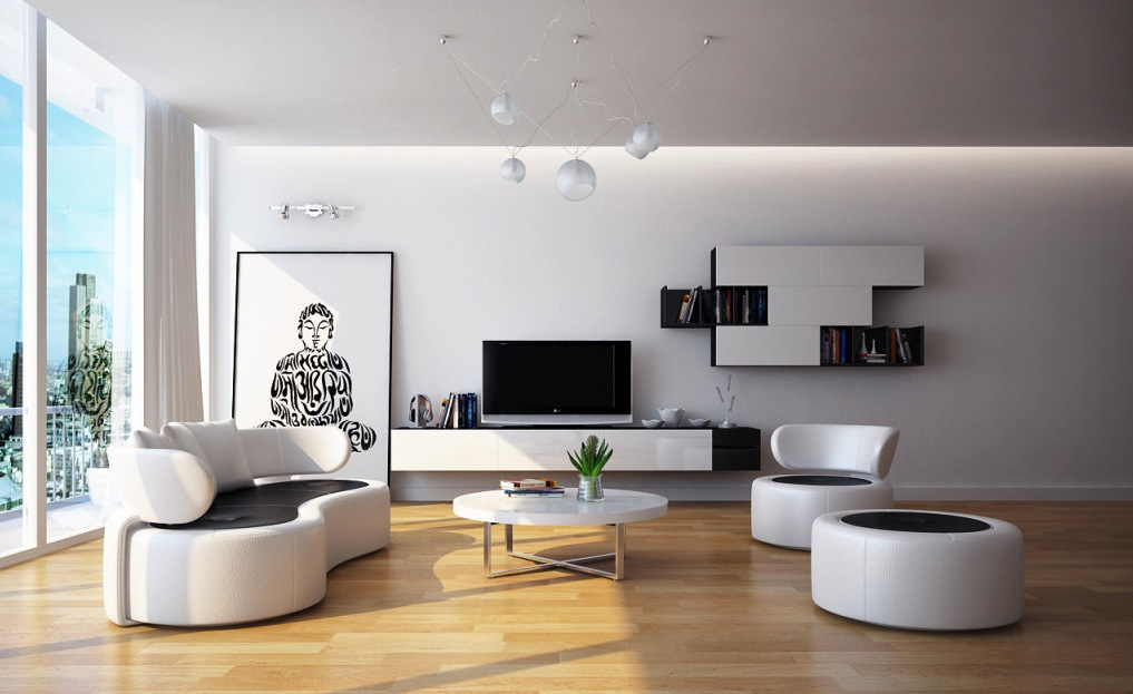 Modern Black White Living Room Furniture Interior Design