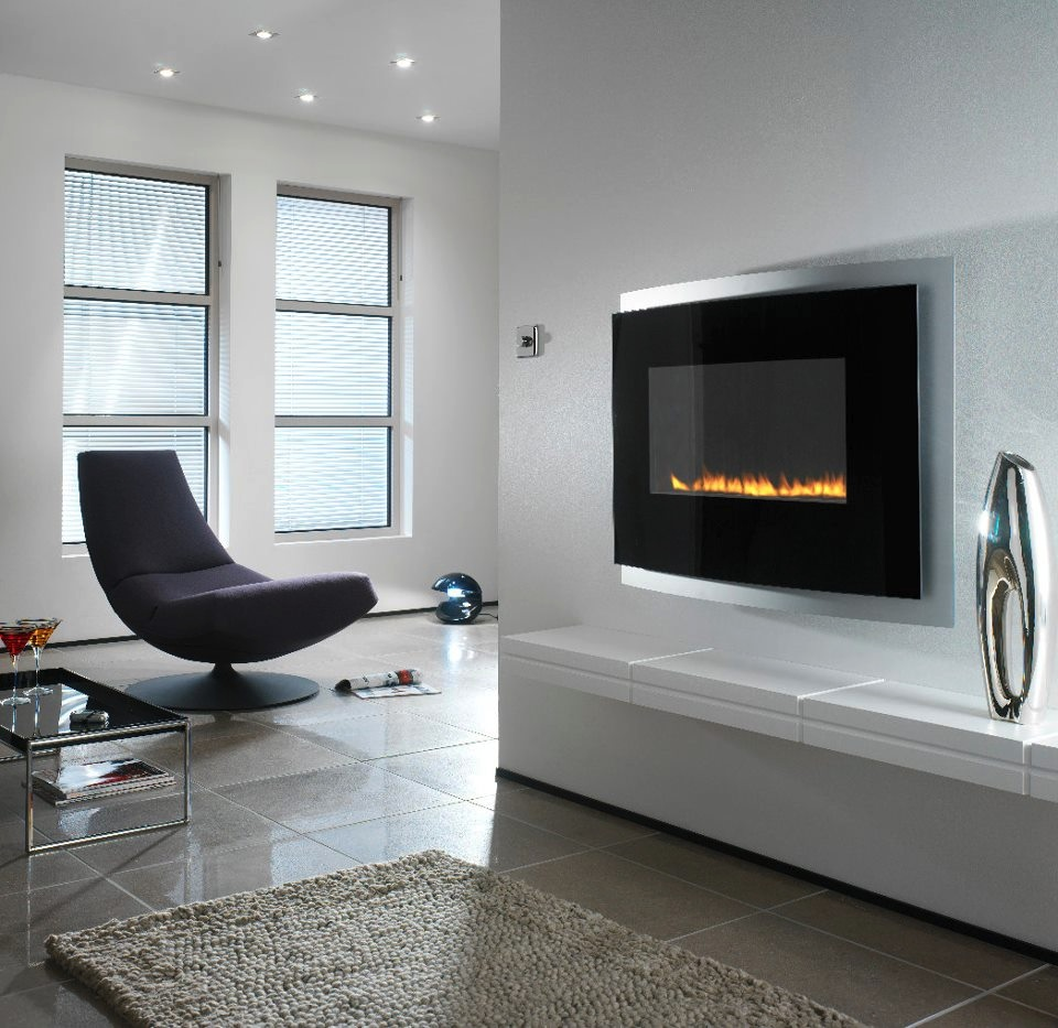 Modern wall mounted fireplace | Interior Design Ideas.