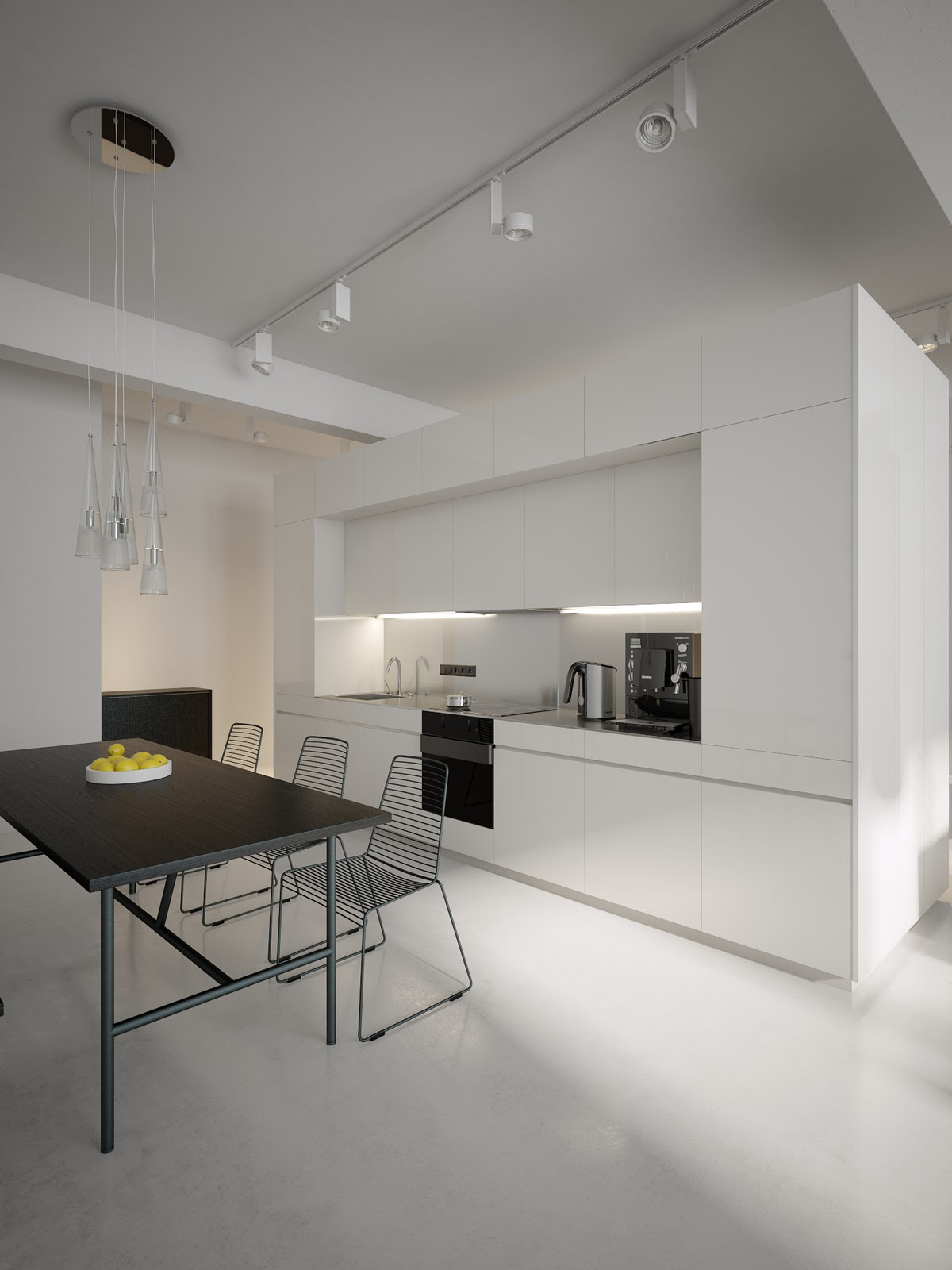 Kitchen Diner Wall Lights : Modern Minimalist Black and White Lofts