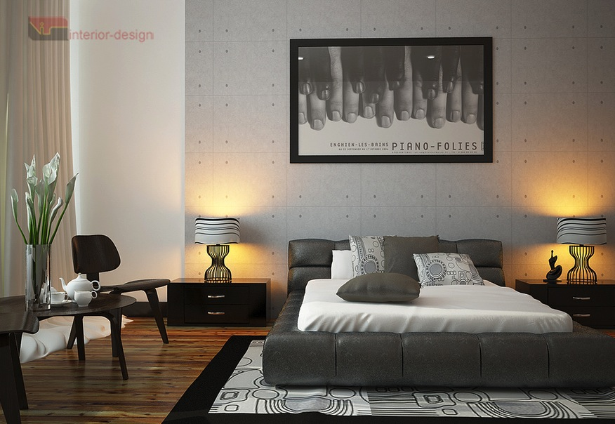 monochrome bedrooom decor scheme interior design ideas