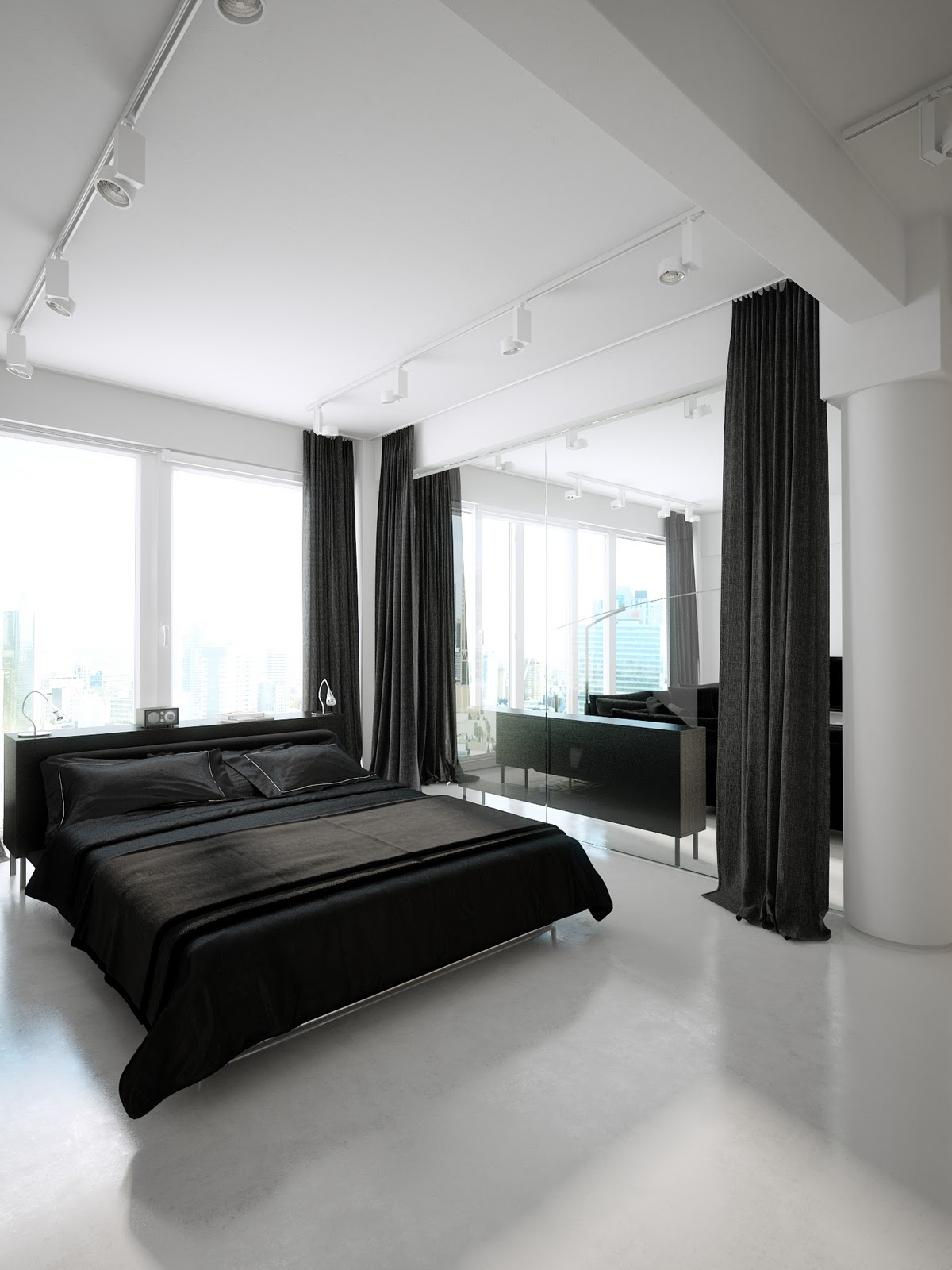 Modern minimalist black and white lofts for Modern bedroom interior designs