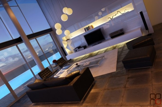 As darkness falls the room glitters with the glow from a central cascading multi-pendant light. Inbuilt LED strip lighting runs the length of an extensive entertainment unit, which spans the entire width of the room, drawing focus to the collectibles along its recessed shelf, and throwing soft light along the slab floor.