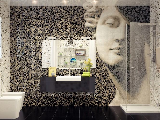 A stunning mosaic tile arrangement creates an art wall in this bathroom that would look just as splendid anywhere else in the home, or indeed the gallery.