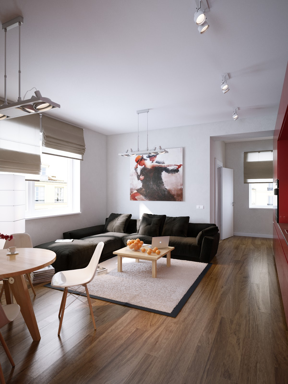 Modern red apartment for a young couple visualized for L shaped apartment design