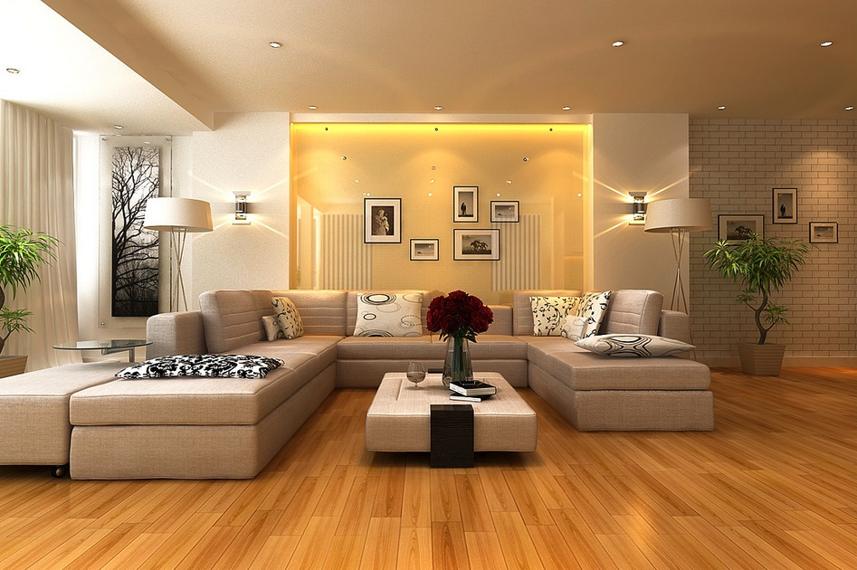 Neutral living room gloss feature wall interior design for Modern living room flooring ideas