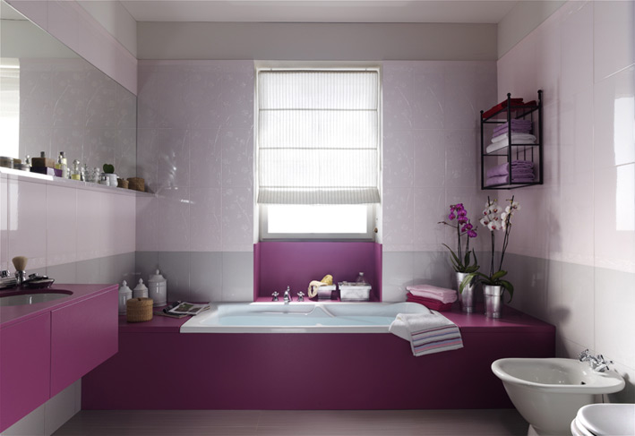 Purple white feminine bathroom design interior design ideas for Bathroom ideas purple