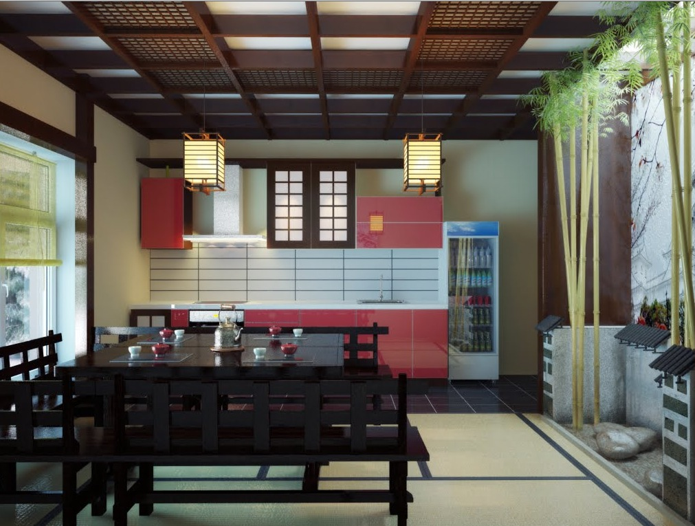 Red Black Japanese Inspired Kitchen Dining Space Interior Design Ideas