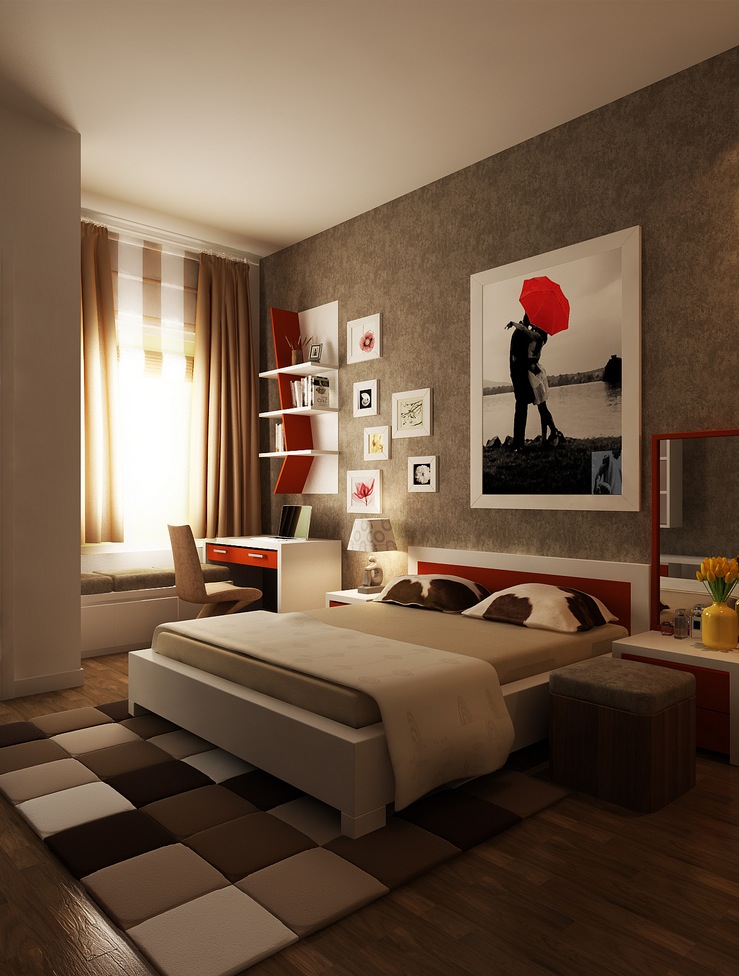 Red brown white bedroom layout interior design ideas Bedroom layout design