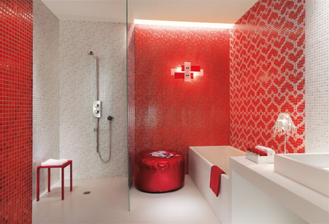 Red white heart mosaic tiles bathroom