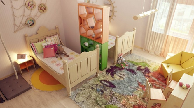 A shared children's room provides each sibling with a feeling of ones own space by the incorporation of a dividing shelf unit between the sleeping areas. Each child can have a zone of their own whilst the rest of the room remains a communal play area, where the cheerful colors are pulled together in a multicolored deep pile rug to provide a comfortable lounging place to spread out toy collections.
