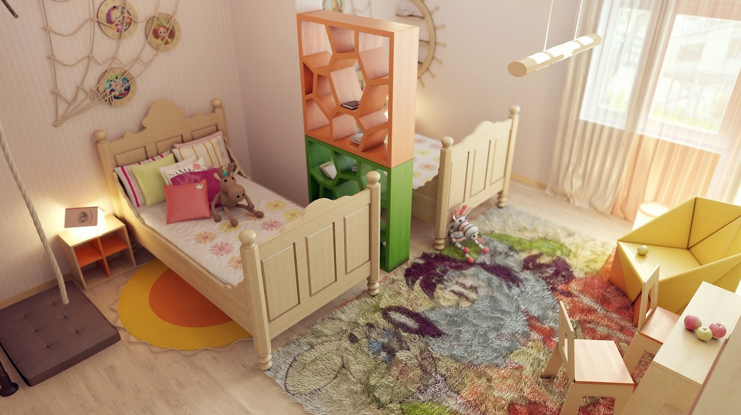 shared childrens room divider idea