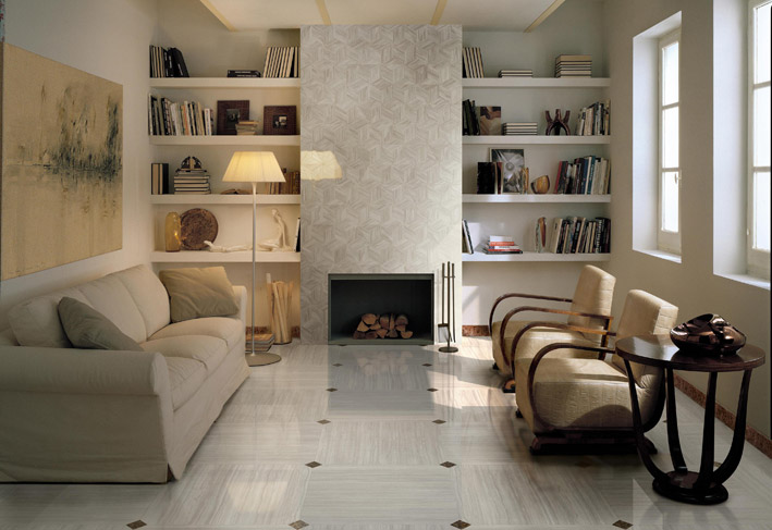 Sophisticated living room brown white floor tile for Ceramic tile flooring ideas living room