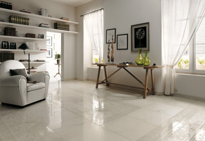 Textured white ceramic tile border floor
