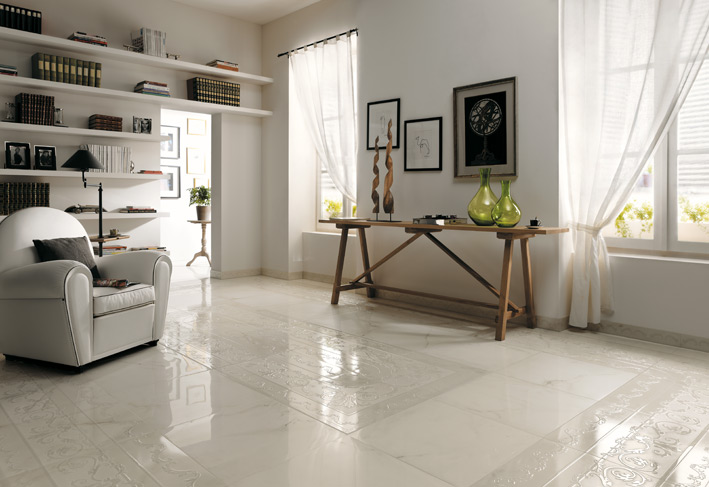 Top to toe ceramic tiles for Modern living room flooring ideas