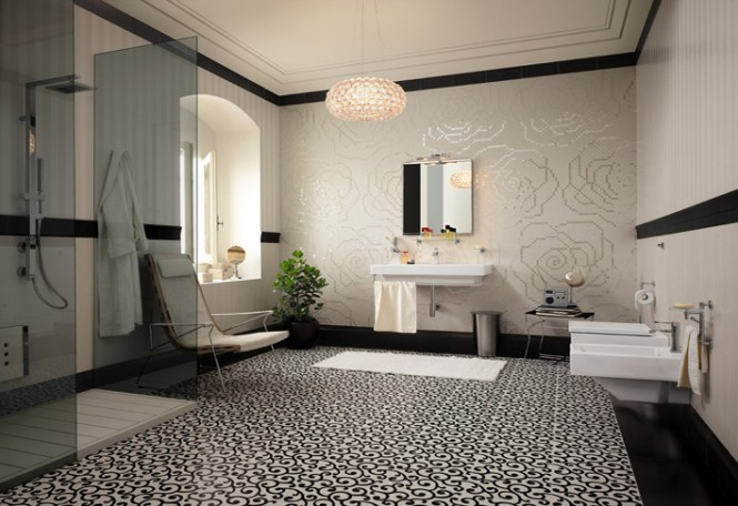 Tiled floor carpet floral mosaic tiles