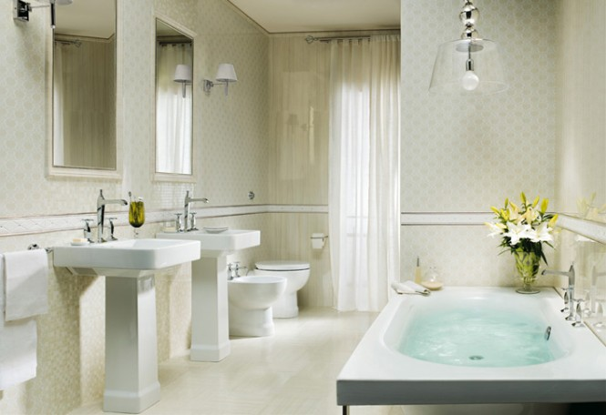 Traditional white tiled bathroom design
