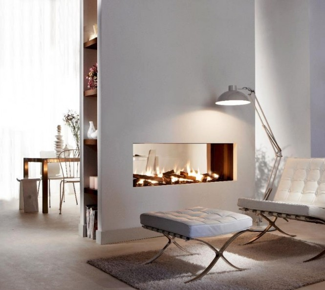 Transparent dual aspect fireplace