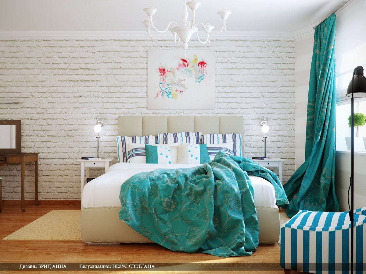 Turquoise white bedroom decor scheme Interior Design Ideas