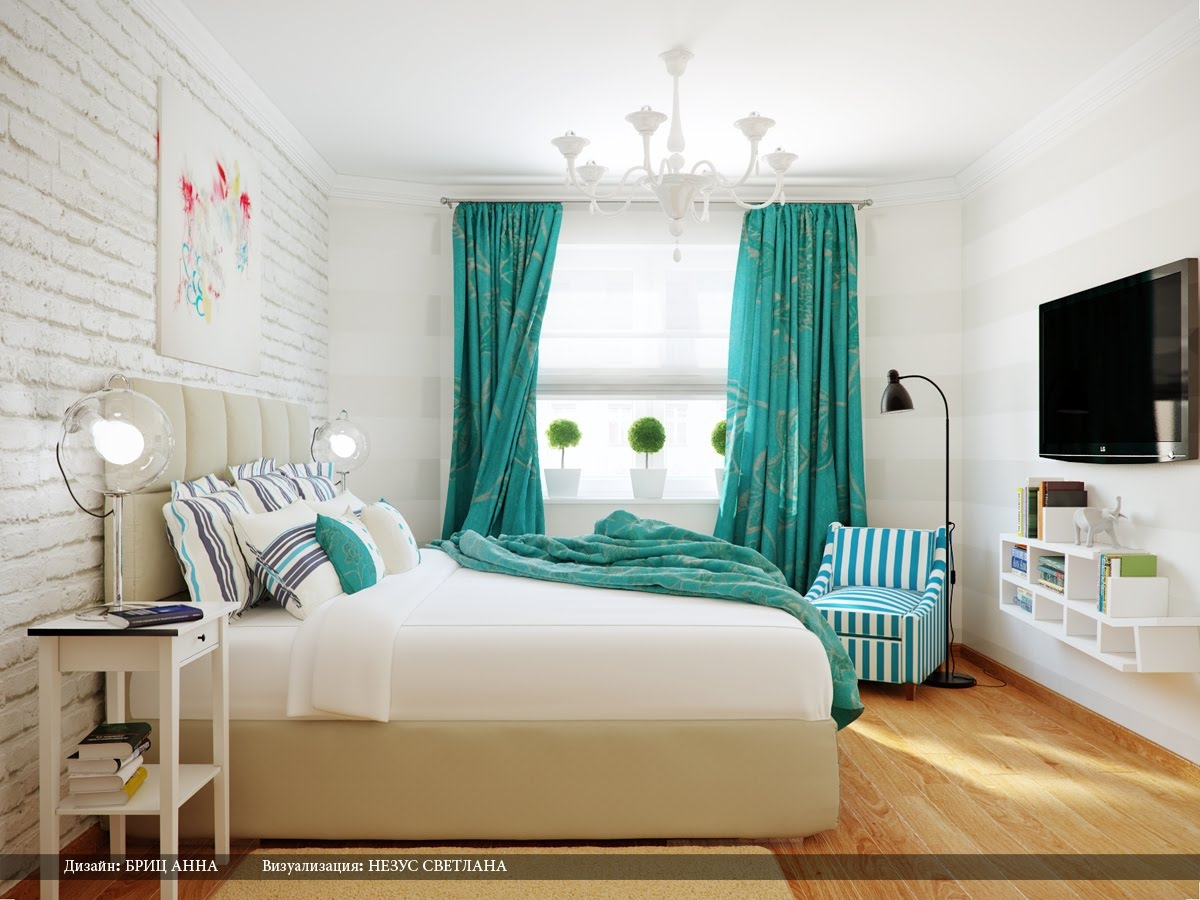 Turquoise white stripe bedroom interior design ideas for White bed interior design