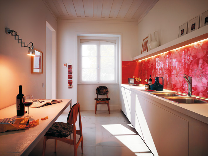 Unusual Floral Red Ceramic Tile Kitchen Backsplash Interior Design Ideas