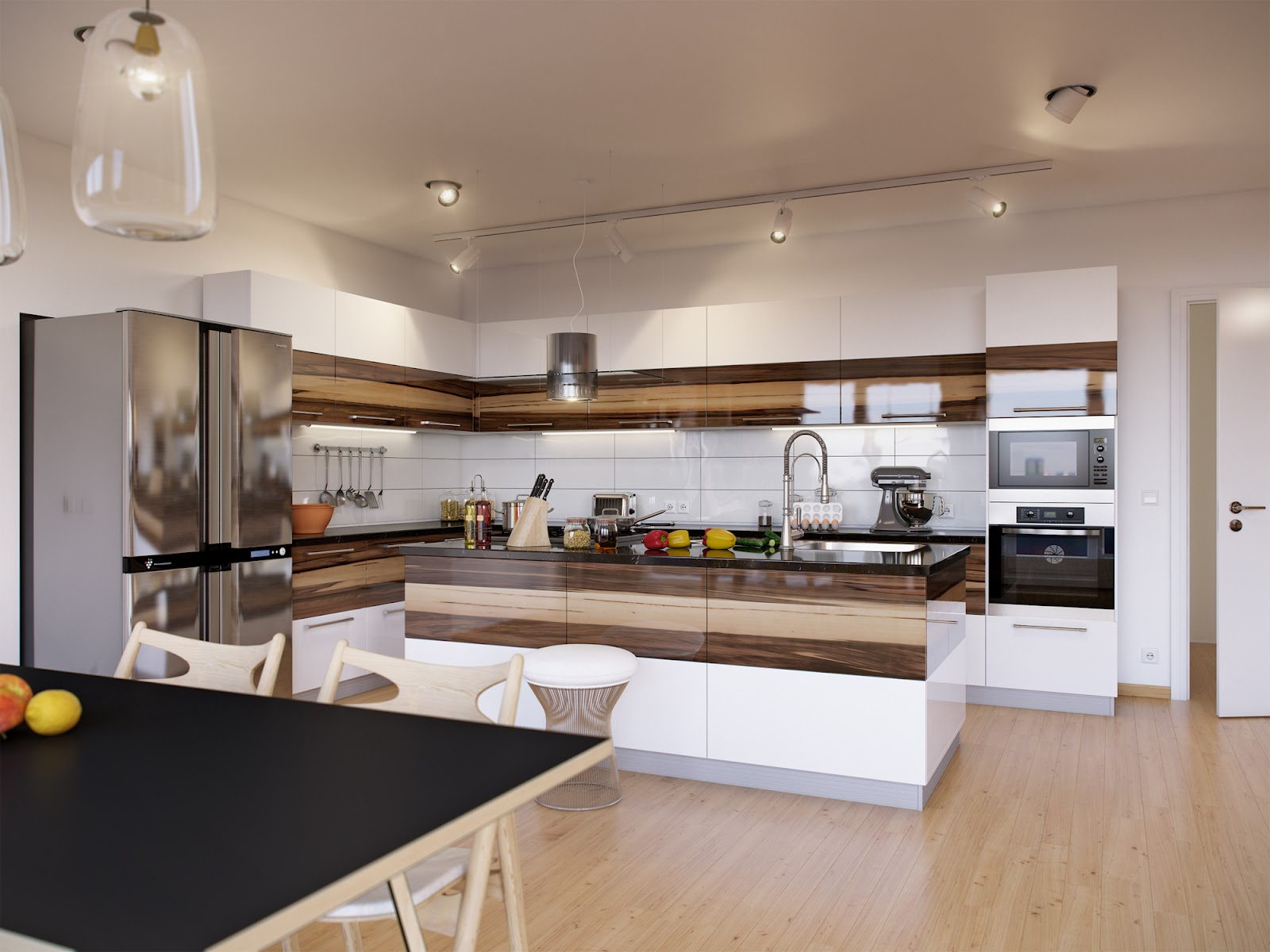 Wood tones and white for Modern house kitchen
