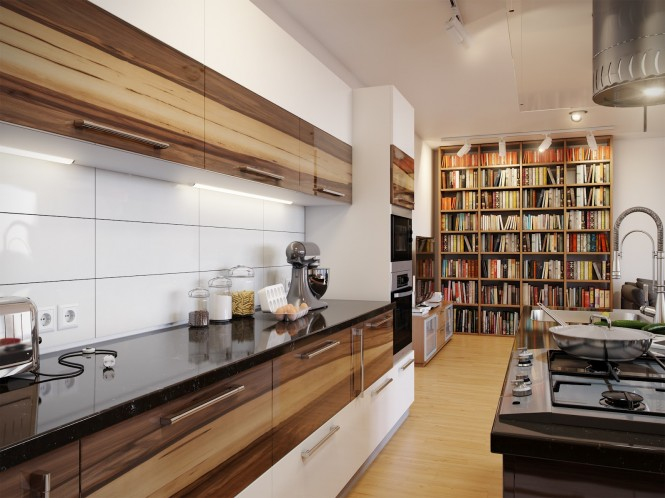White backsplash wooden units