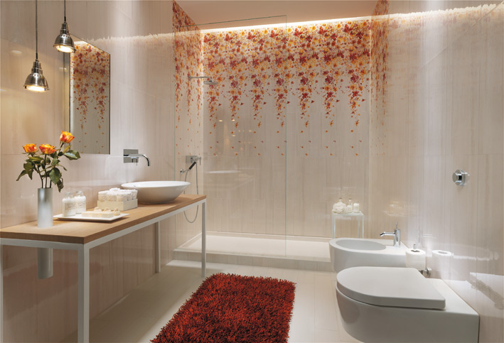 White floral bathroom tile design interior design ideas for Bathroom tile designs pictures