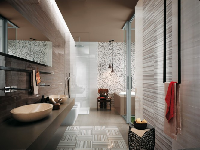 White gray stripe bathroom tiles