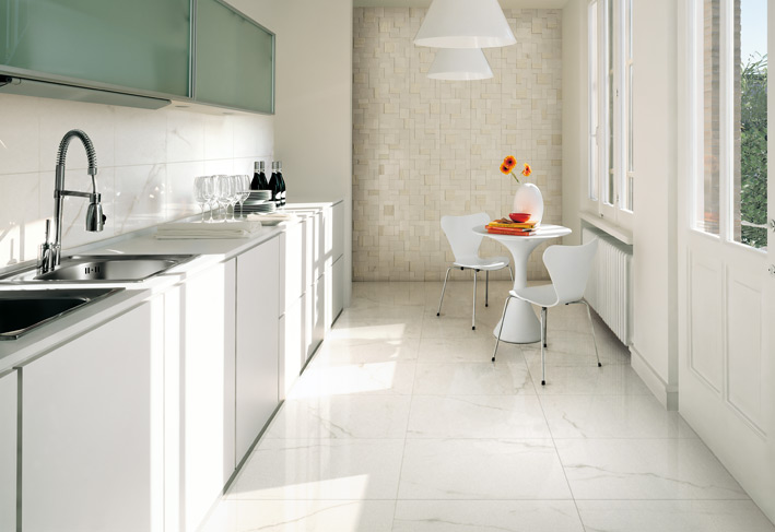 Top to toe ceramic tiles White kitchen floor tile ideas