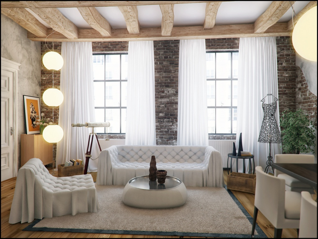 White loft style decor interior design ideas Loft living room ideas