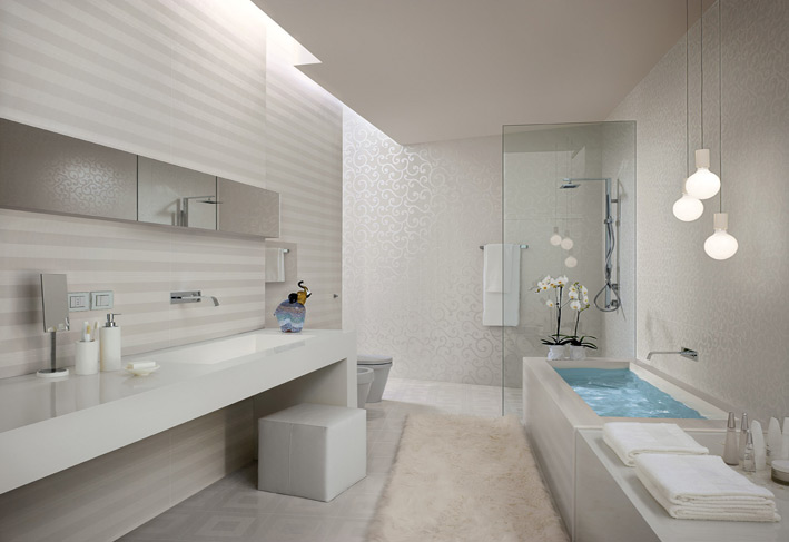 Elegant White Textured Bathroom  Bathroom Tiles  Textured Tiles  Image