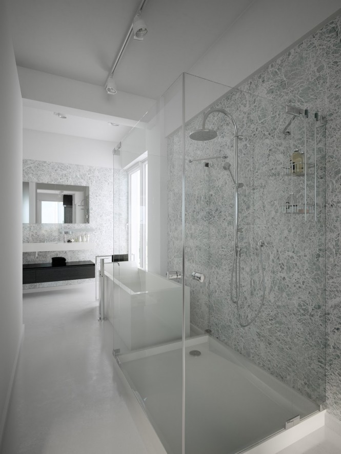 black white shower room