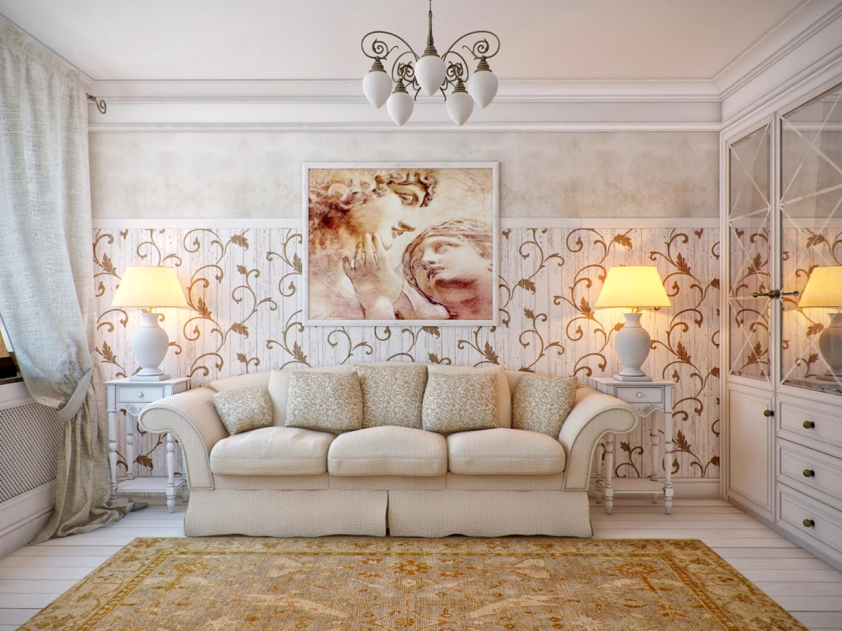 White cream brown living room