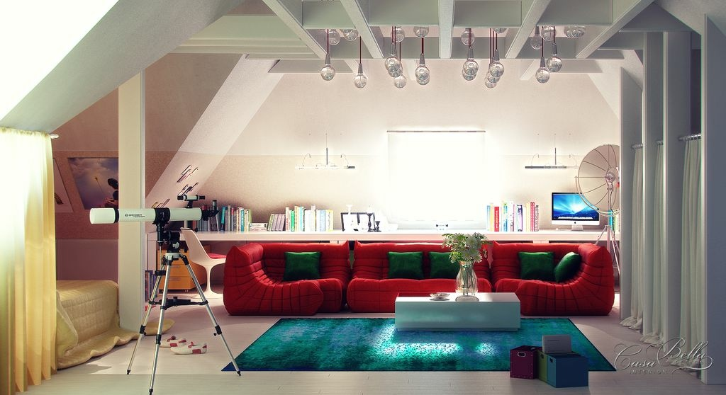 Bedroom Lounge Red Sectional Sofa Interior Design Ideas