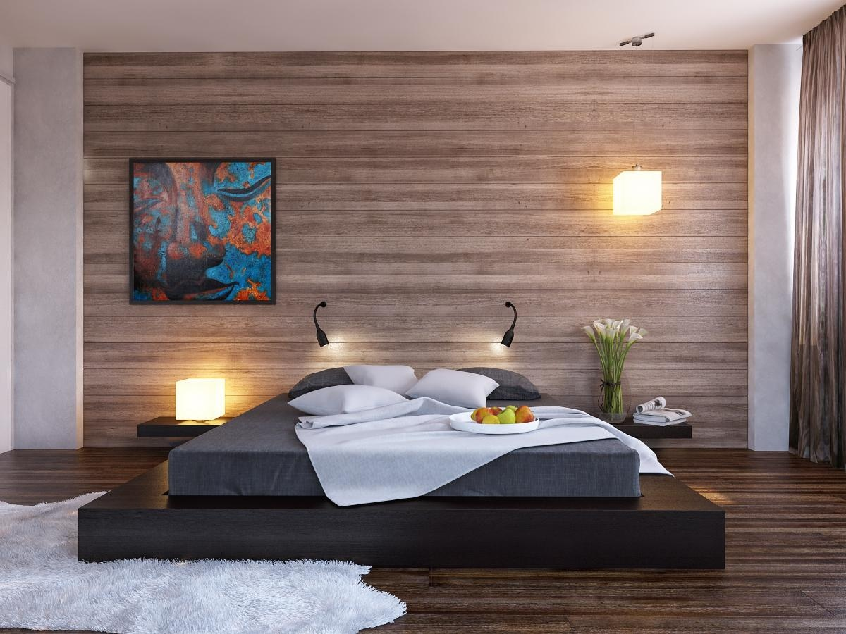 black platform bed wood clad bedroom wall interior