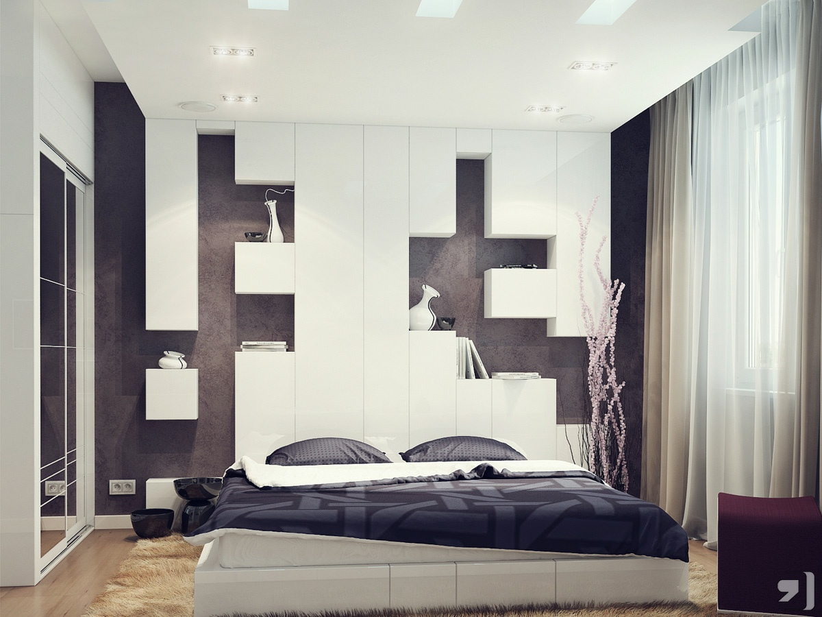 Black white bedroom storage headboard interior design ideas Bed headboard design