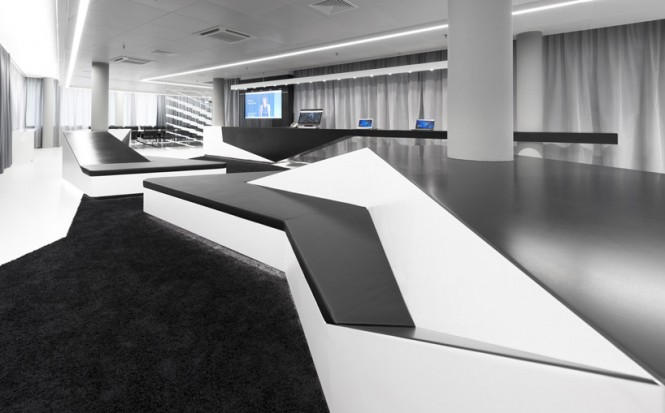 Black white meeting room