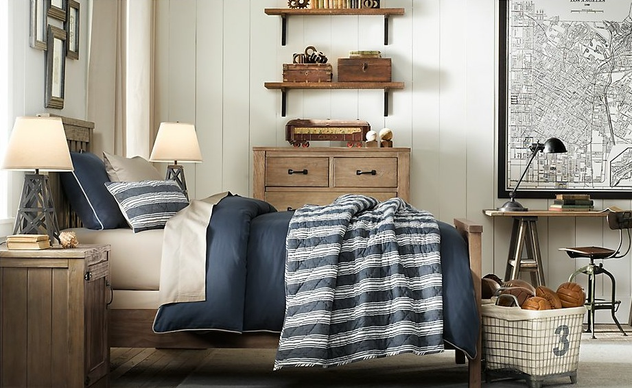 A treasure trove of traditional boys room decor for Blue and white boys room