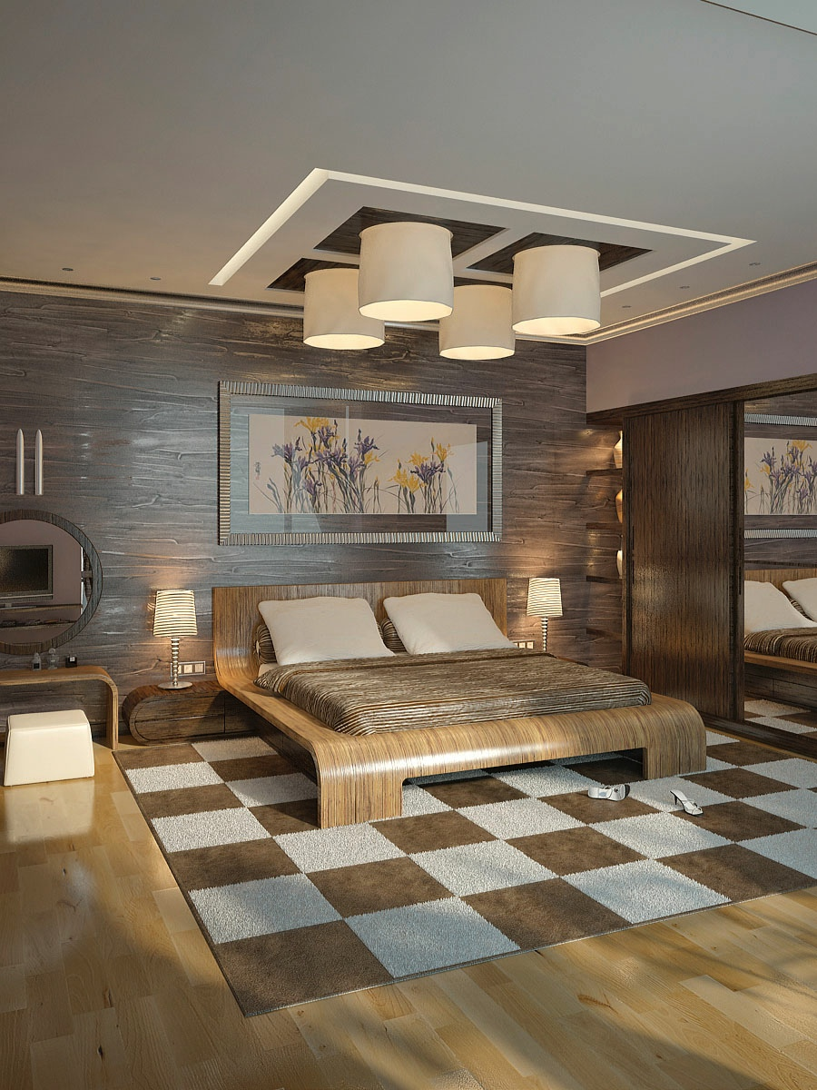 Brown cream modern bedroom interior design ideas for Modern bedroom interior designs
