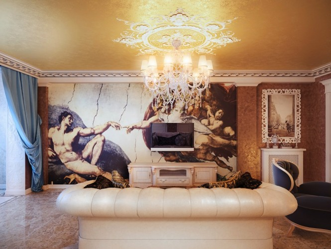 Classical style living room wall mural