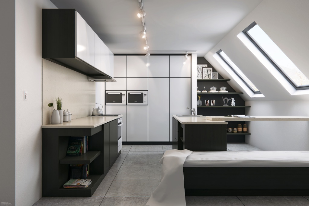 Contemporary black white attic kitchen design interior for Attic kitchen designs