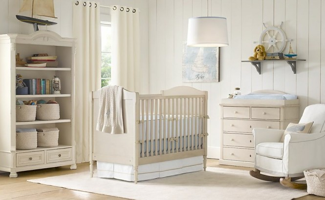 Cream white baby blue nursery