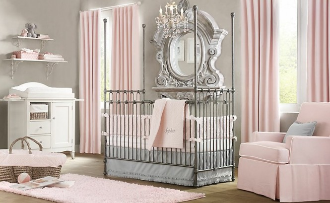 Plain walls are adorned with heavily ornate mirror frames in soft shades to tie with the surroundings whilst still creating stunning impact. Floor to ceiling mirrors create even more drama and sense of space and light when placed behind a crib to reflect the whole room.