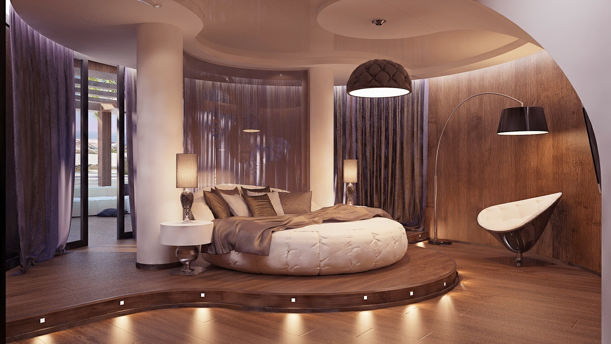 Futuristic Bedroom Round Bed