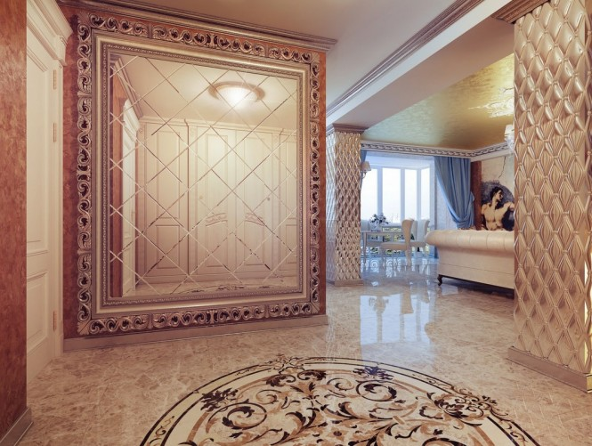 Every inch of the layout is decorated in patterned relief, from the window surround and swirling fireplace in the living room, to the wall panels and cupboard facing in the bedroom.